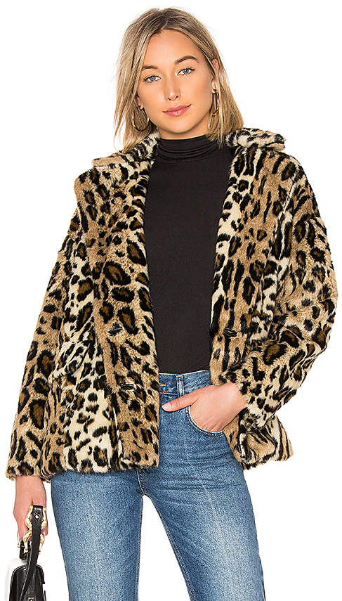Free People Kate Faux Fur Leopard Coat