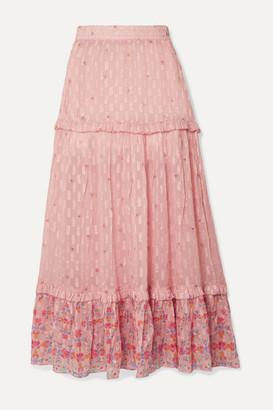 CHUFY Taquile Ruffled Floral-print Metallic Fil Coupe Chiffon Maxi Skirt - Pink