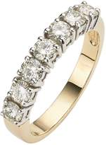 Moissanite 9 Carat Yellow Gold 1 Carat 7 Stone Eternity Ring