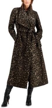 Cole Haan Leopard-Print Maxi Wrap Coat