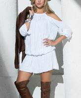 Am.pm. White Off-Shoulder Blouson Dress