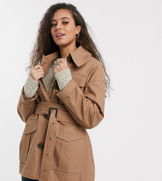 ASOS DESIGN Petite utility trench jacket in stone