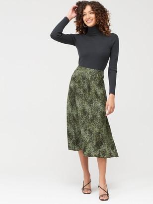 MANGO Snake Print Midi Skirt - Green