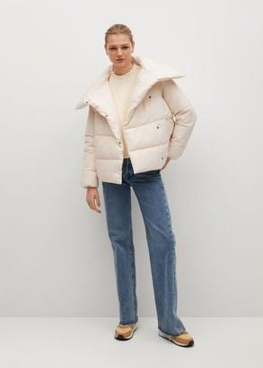 MANGO Funnel neck feather coat