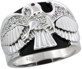 Sabrina Silver Mens Sterling Silver Black Onyx American Eagle Ring CZ Stones & Frosted Star Accents, 3/4 inch wide, size 14