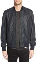 John Varvatos Men's Double Zip Leather Bomber Jacket