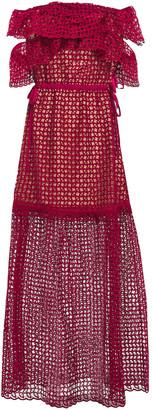 Self-Portrait Off-the-shoulder Ruffled Guipure Lace Maxi Dress