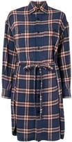 Thumbnail for your product : R 13 Drawstring-Waist Plaid Shirtdress
