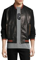 McQ by Alexander McQueen Leather Striped-Trim Bomber Jacket, Black