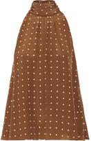 Diane von Furstenberg Polka-dot Silk Crepe De Chine Blouse - Brown