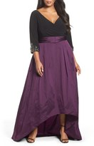 Adrianna Papell High/Low Taffeta Gown (Plus Size)