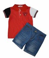 Ladouby Boys' Girls'short sleeve polo Shirt and Stretch Denim Short Set 3-8 year