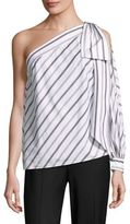 Milly Striped Shirting Nina One Shoulder Top