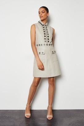 Karen Millen Leather Eyelet Mini Dress