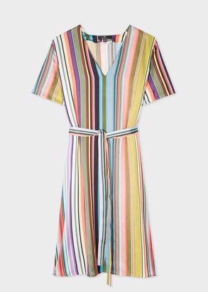 Paul Smith Women's Multi-Stripe V-Neck Midi Dress