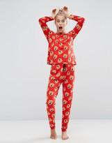 Asos Roaring Bear Long Sleeve Tee & Legging Pajama Set