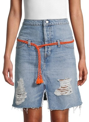 Hudson Distressed Denim Skirt