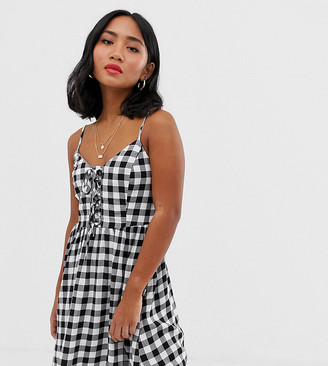 New Look Petite lace up front dress in black gingham