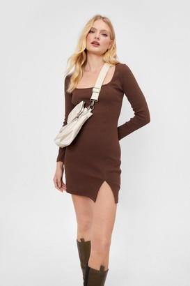 Nasty Gal Womens Square Neck Ribbed Mini Dress - Chocolate