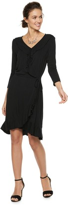 Women's Nina Leonard Ruffle Faux-Wrap Dress