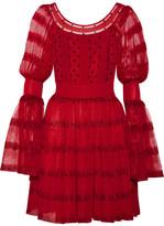 Alexander McQueen Stretch-knit Paneled Silk-blend Point D'esprit Mini Dress - Red