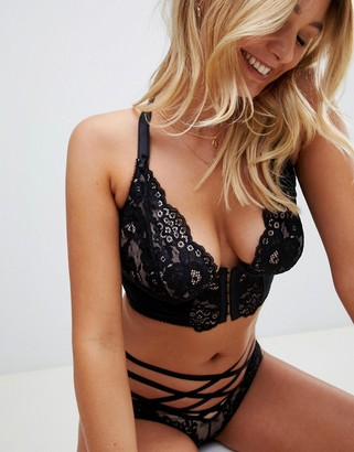 Pour Moi? Pour Moi Amour Accent Front Fastening Underwired Bralette-Black