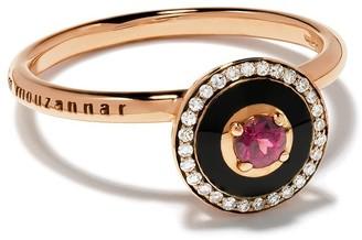 Selim Mouzannar 18kt rose gold diamond rhodolite Mina ring