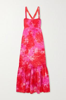 HONORINE Athena Tie-dyed Linen Maxi Dress - Papaya