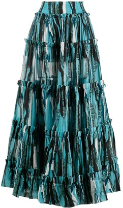 Roberto Cavalli Snake Print Long Tiered Skirt