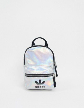 adidas trefoil logo mini backpack in metallic silver