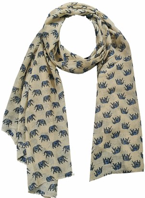 World of Shawls Ladies Womens Colorful Scarf with Elephant Print Wraps Shawl Soft Scarves Sarong (Indian Elephant Cream/Beige)