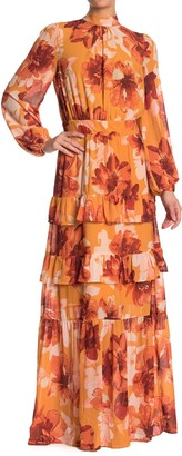 A.Calin Floral Mock Neck Long Sleeve Ruffled Maxi Dress