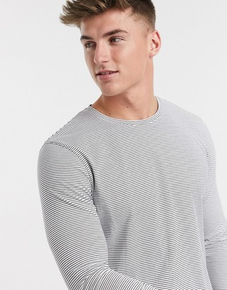 Selected organic cotton long sleeve fine stripe t-shirt in white