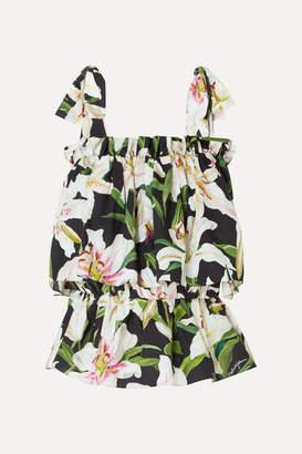 Dolce & Gabbana Floral-print Cotton-poplin Top - Black