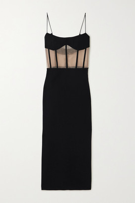 Rasario Crepe And Tulle Bustier Dress - Black