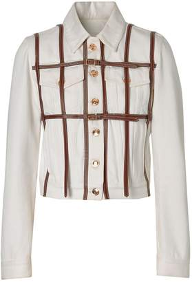 Burberry Leather Harness Detail Denim Jacket