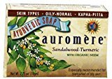 Auromere Sandalwood Soap (Sandalwood Oil Bar Soap) with Turmeric Extracts - Handmade Herbal Soap (Aromatherapy) with 100% Pure Essential Oils - ALL Natural - Each 2.75 Ounces - (8 Ounces by