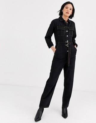 Topshop denim boiler suit in washed black