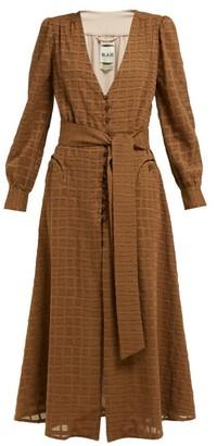 BLAZÉ MILANO Sirocco Belted Cotton-blend Midi Dress - Womens - Brown