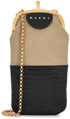 Marni Two-tone leather and canvas cross-body bag