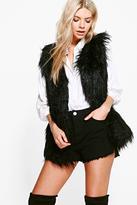 boohoo Lola Shaggy Faux Fur Gilet