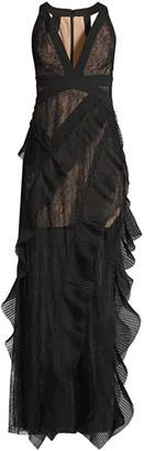 BCBGMAXAZRIA Pleated Ruffle Lace Gown