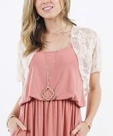 42pops 42POPS Women's Boleros PINK - Pink Lace Short-Sleeve Bolero - Women