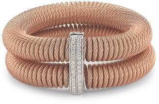 Alor Kai 18K White Gold & Rose-Tone Stainless Steel Diamond Tiered Coiled Bangle Bracelet