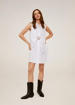 MANGO Belt shirt dress off white - 4 - Women