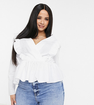 ASOS DESIGN Curve cotton wrap top with ruffle detail in ivory