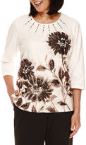 Alfred Dunner Madison Park 3/4-Sleeve Floral Top