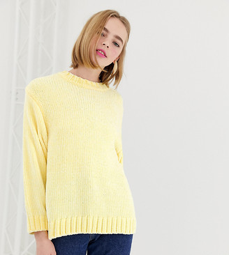 Monki textured crew neck jumper in light yellow