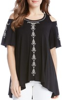 Karen Kane Cold Shoulder Embroidered Top