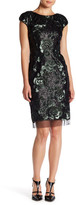 Vera Wang Floral Sequin Sheath Dress